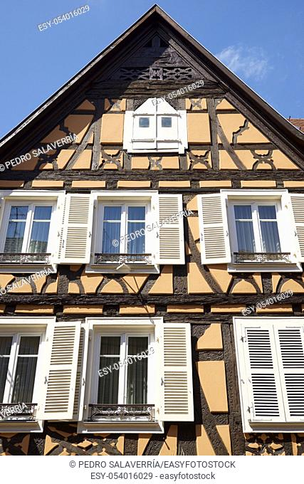 Facades in Colmar city, France