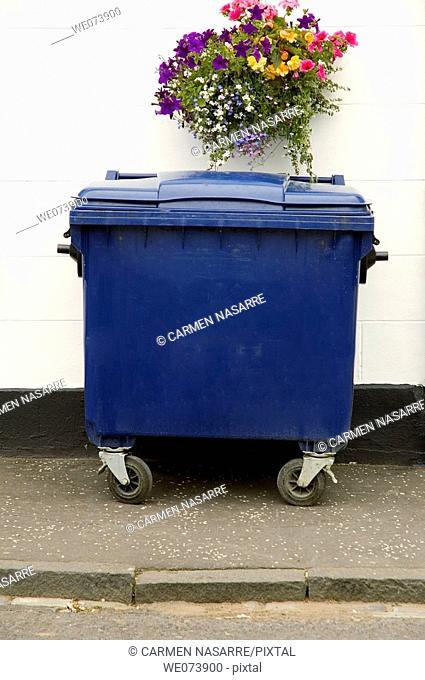 Rubbish container, Thornhill. Scotland, UK
