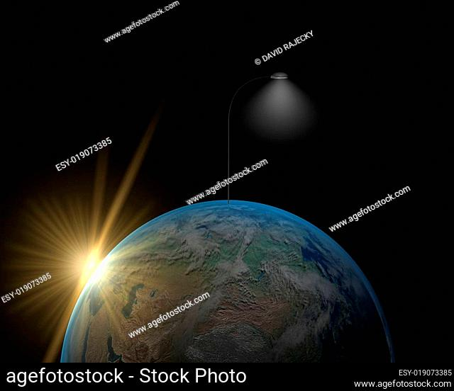 Earth with lamp and sun