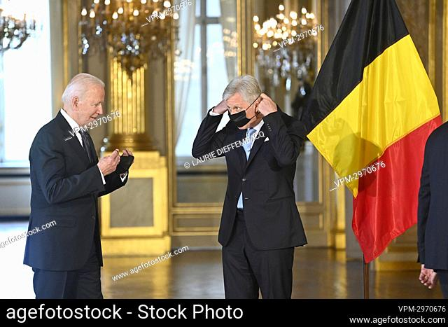 US President Joe Biden and King Philippe - Filip of Belgium pictured during an audience at the Royal Palace in Brussels, Tuesday 15 June 2021