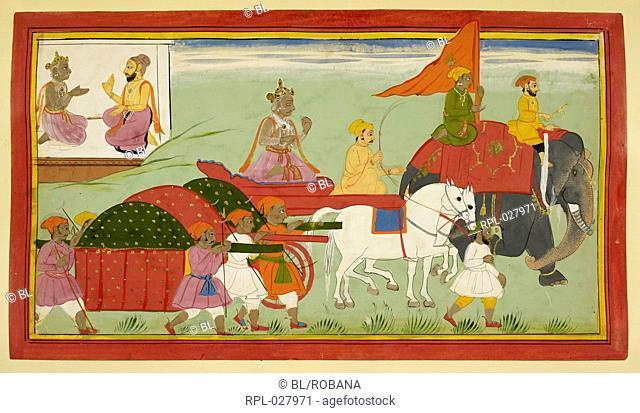 Dasaratha decides to seek out Rishyasringa to help with the ashvamedha Image taken from Ramayana, Bala Kanda. Originally published/produced in Udaipur, 1712