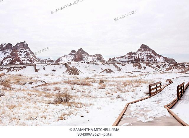 Snow covered mountains in Badlands National Park, South Dakota, USA
