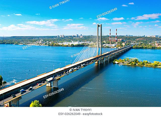 Pivdennyi (Southern) Bridge in Kiev, Ukraine. Kiev is the capital of Ukraine