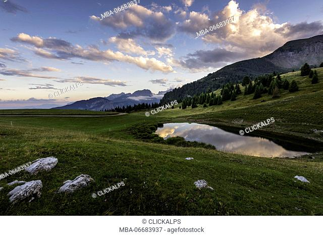 Lake of Vipers at sunset Europe, Italy, Trentino Alto Adige, Non valley, Trento district