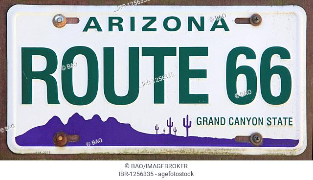 American number plates Route 66