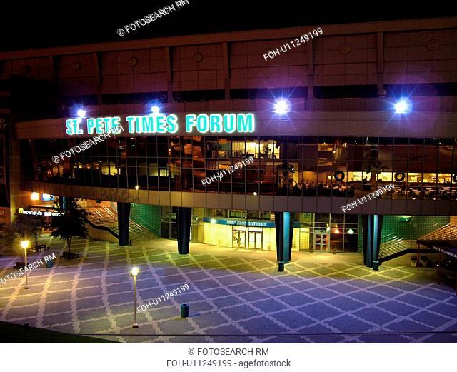 Tampa, FL, Florida, Tampa Bay, St. Pete Times Forum, stadium, evening