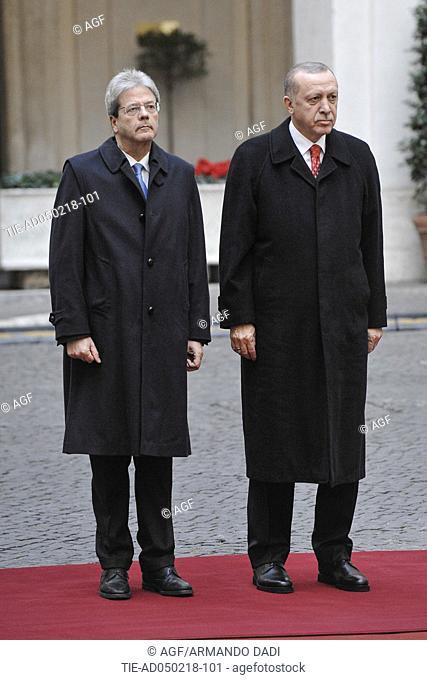 Italian Prime Minister Paolo Gentiloni meets with Turkish President Recep Tayyip Erdogan, Rome, Italy 05/02/2018