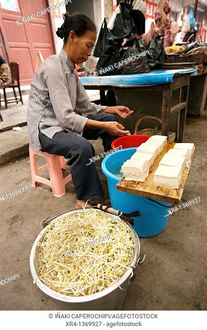 Since soy and tofu, Market Rongjiang, Rongjiang, Guizhou, China