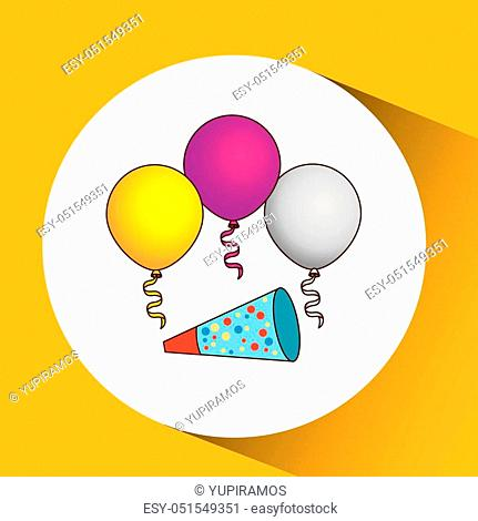 boy in his celebration party icon, vector illustration