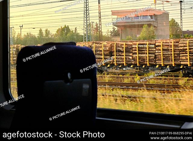 12 August 2021, Saxony-Anhalt, ---: View from the moving IC 2949 of wagons loaded with logs parked in the station. According to a survey conducted by the German...