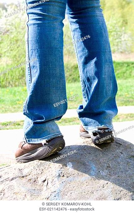 Special Sneakers for walking and ripped jeans