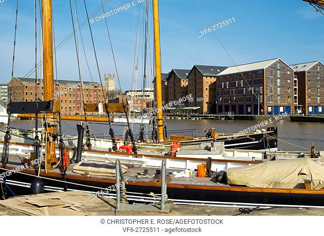 Traditional vessels undergoing maintenance in Gloucester Docks, Gloucester, UK