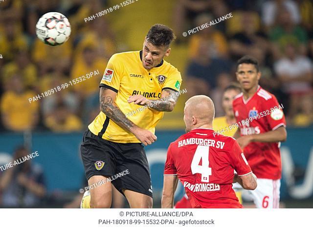18 September 2018, Saxony, Dresden: Soccer: 2nd Bundesliga, Dynamo Dresden - Hamburger SV, 4th matchday, in the Rudolf Harbig Stadium