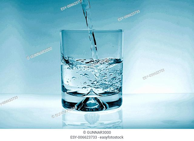 glass of water for refreshment in summer or at a party
