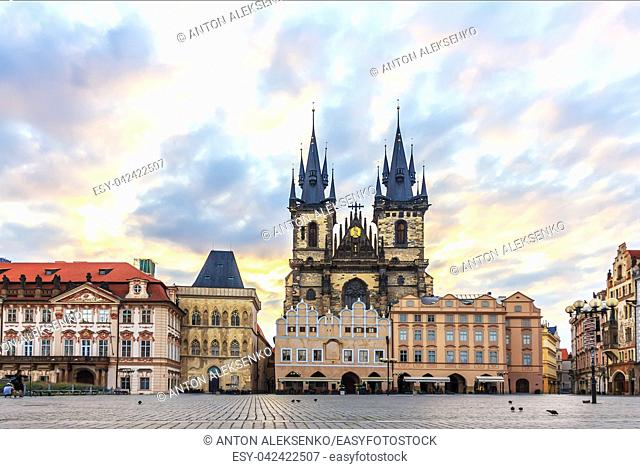 Famous Old Town Square in Prague, Czech Republic