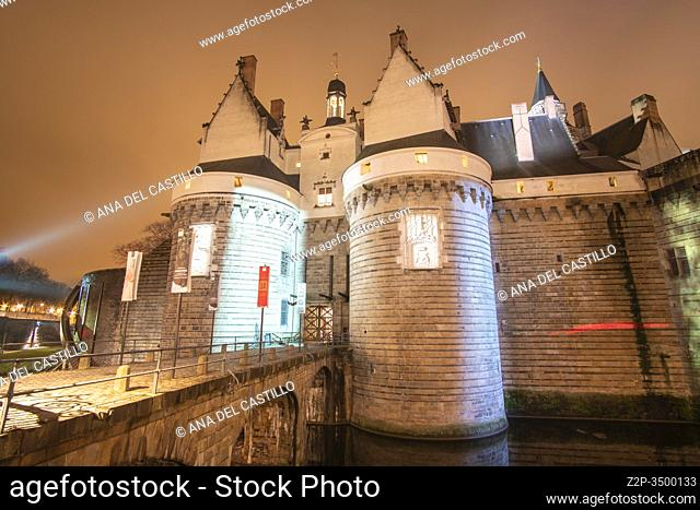 Nantes France: Castle of the Dukes of Brittany by night