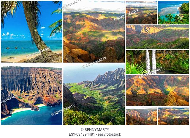 Hawaii pictures collage of different famous locations landmark of Kauai island in Hawaii, United States