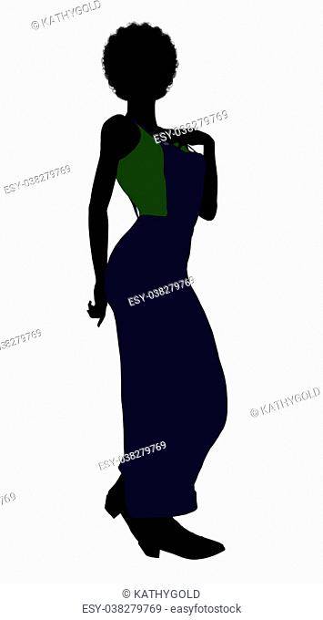 Casual dressed in overalls african american female silhouette on a white background