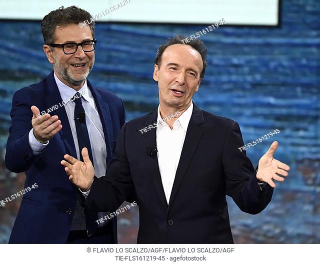 Tv conducer Fabio Fazio, the actor and director Roberto Benigni during the tv show Che tempo che fa, Milan, ITALY-15-12-2019