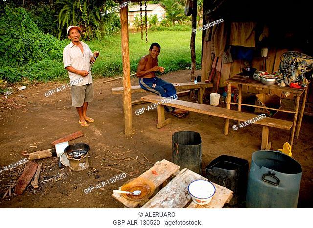 Houses, Men, Terra Preta Community, Cuieiras River, Amazônia, Manaus, Amazonas, Brazil