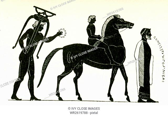 This depiction of the proclamation of a winner in a horse race is a black-figure painting on a Panathenaic prize amphora from Vulci, to the north of Rome