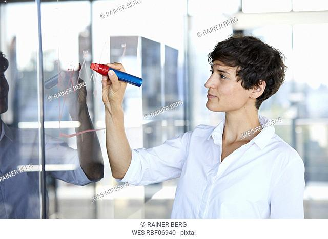 Businesswoman drawing chart on glass pane in office