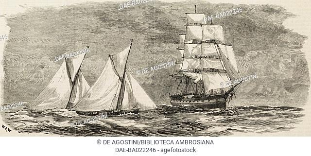 Sailboats race, a sailing ship in the background, Falmouth, United Kingdom, illustration from the magazine The Graphic, volume XXV, no 633, January 14, 1882