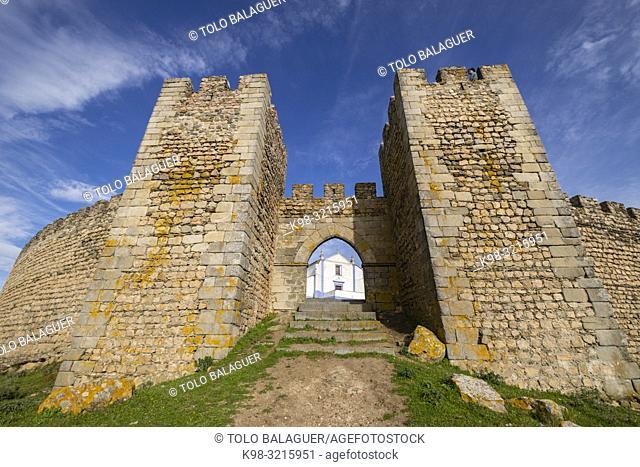 puerta de Santarém, castillo medieval, Arraiolos, Distrito de Évora, Alentejo , Portugal