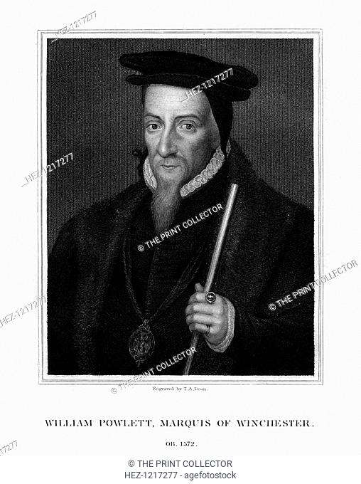 William Paulet, 1st Marquess of Winchester, English statesman, (1828). Portrait of Paulet (c1483-1572) whose name is variously spelt Powlett, Poulet, or Pawlet