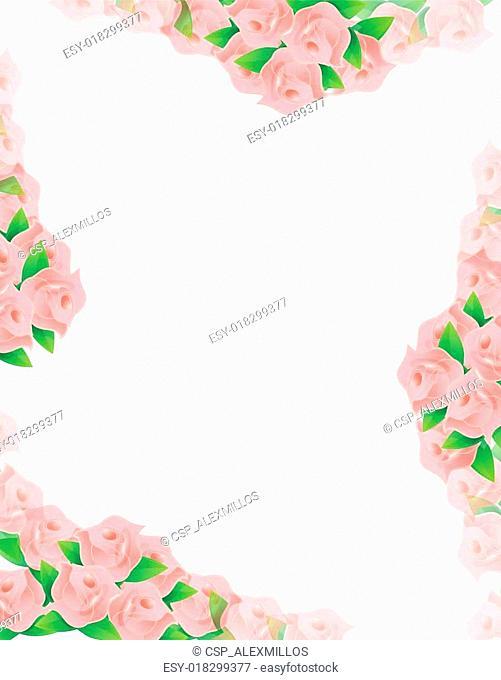 pink flowers frame illustration designs