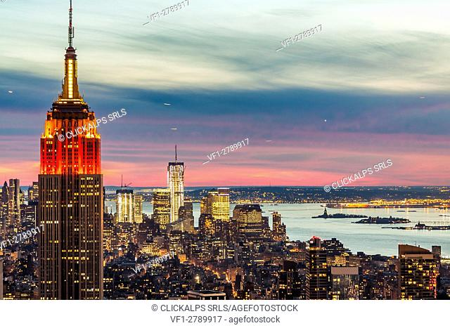 Midtown skyline with Empire State Building from the Rockefeller Center, Manhattan, New York City, USA
