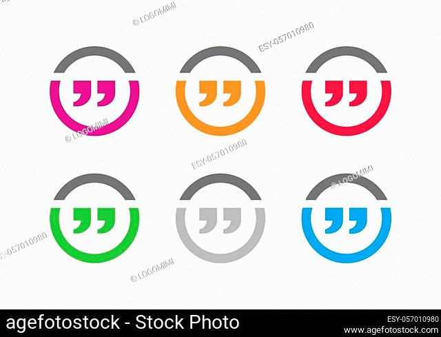 Quote chat logo template, double quote icon design - Vector