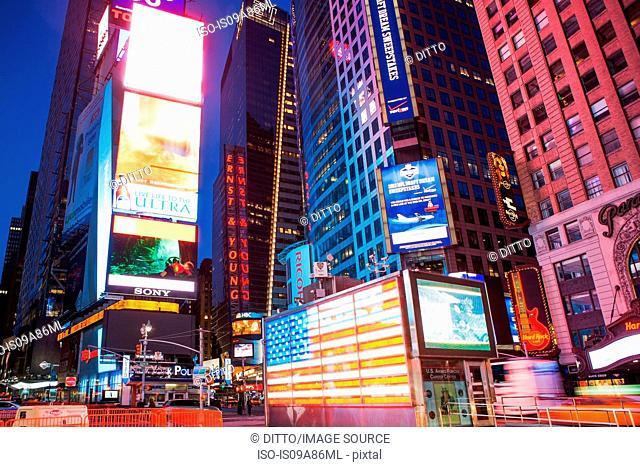Illuminated billboards Times Square at night, New York, USA