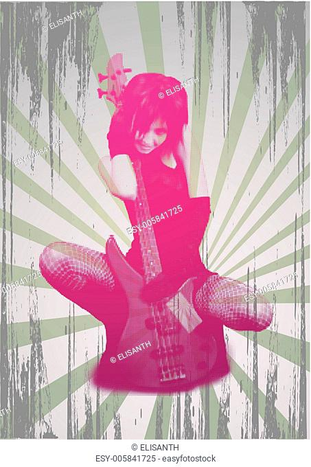 Girl with guitar on grunge background