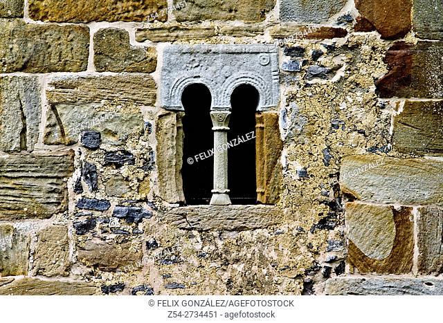 Detail of Pre-Romanesque window, San Salvador de Valdedios, Villaviciosa, Asturias, Spain