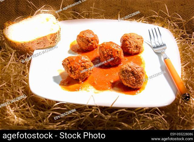 Meatballs Italian polpette fine cuisine with tomato sauce