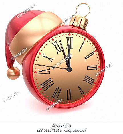 Christmas ball alarm clock New Year's Eve time Santa hat decoration bauble ornament red gold. Traditional wintertime holidays midnight countdown beginning...
