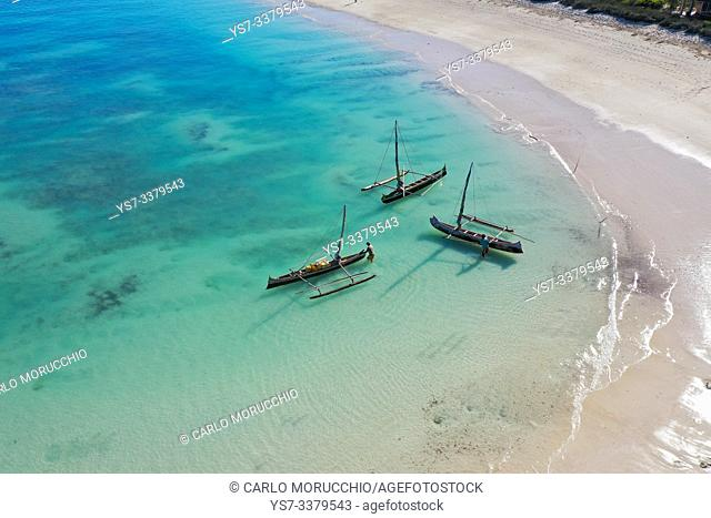outrigger boats on the coral reef near Salary, South Western coast of Madagascar