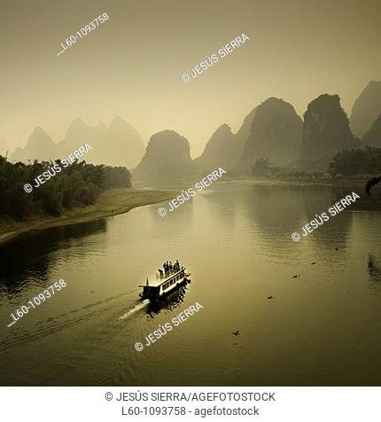 Boat on the Li River, Yangshuo county, Guilin, Guangxi Province, China