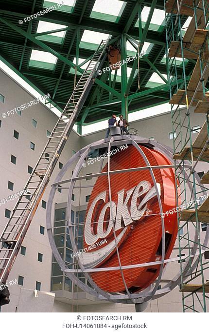 coca-cola, coke, World of Coca-Cola, Atlanta, Georgia, Installation of the red coke sign at the World of Coca-Cola in Underground Atlanta