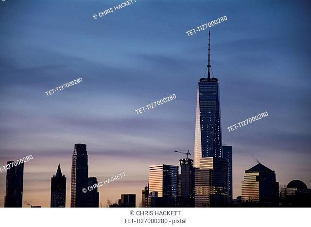 Lower Manhattan buildings at dawn