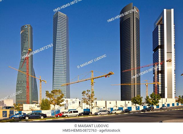 Spain, Madrid Cuatro Torres Business Area (CTBA), new business district with right to left la Torre Caja Madrid (250 meters, designed by Norman Foster)