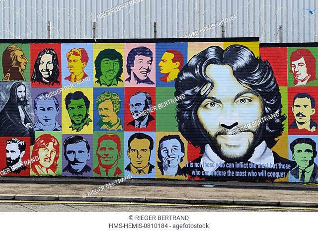 United Kingdom, Northern Ireland, West Belfast, Catholic Falls area, International or Solidarity Wall, murals on Falls Road