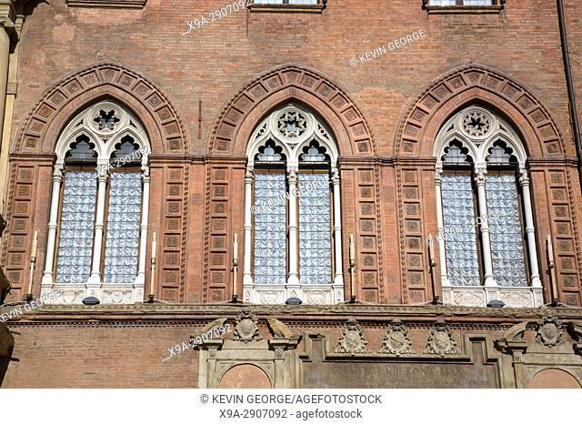 Windows of City Hall; Bologna; Italy;