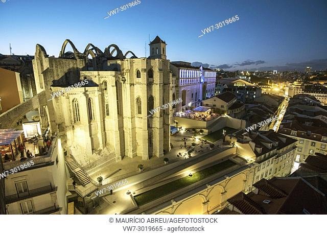 Carmo monastery at twilight, in the historic centre of Lisbon. Portugal