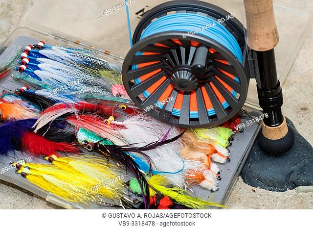 Saltwater fly fishing flies and fly rod and reel