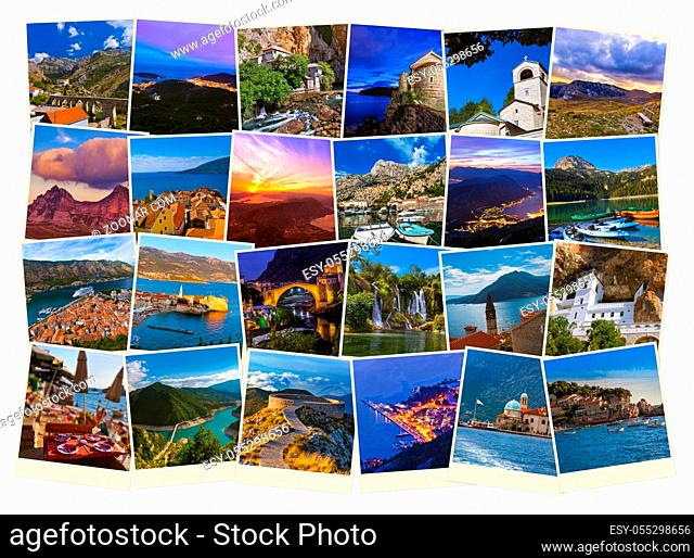 Stack of Montenegro travel images - nature and travel background (my photos)