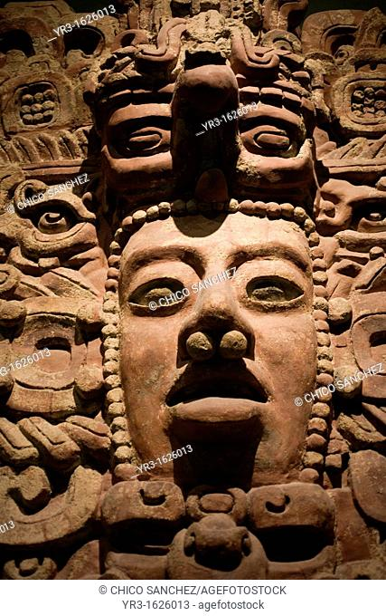 Detail of a Mayan plaster frieze from Early Classic period approximately AD 200-600 displayed in the National Museum of Anthropology in Mexico City, November 12