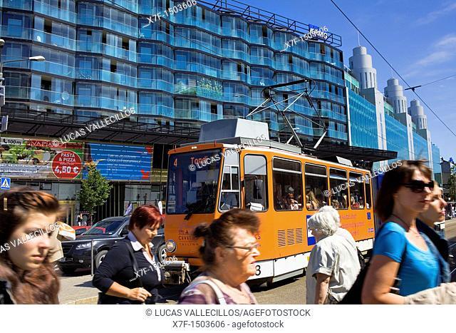 Tram in Narva Mantee street,Tallinn, Estonia