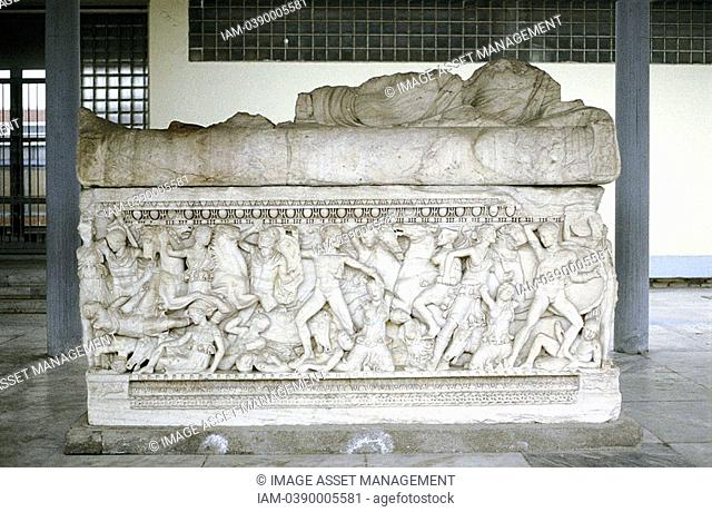 Battle scene from sarcophagus c300 BC  Mounted figure on right is either Alexander the Great or the general Hephestion Hephaestion his favourite  Archaeological...